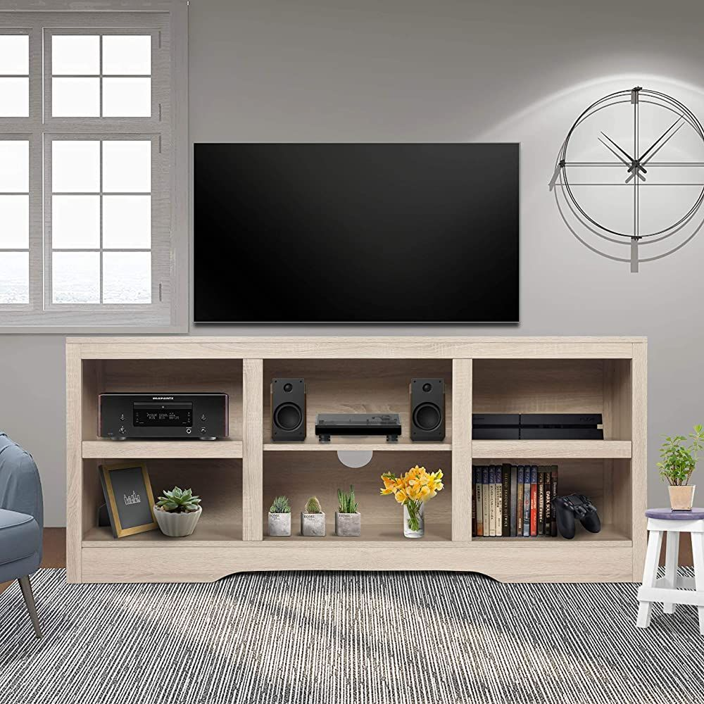 Chic ENSTVER Open Storage Shelf TV Stand For TVs Up To 65 ,White Oak Living Room Furniture Fro.. | Oak Furniture Living Room, Living Room Furniture, Open Storage