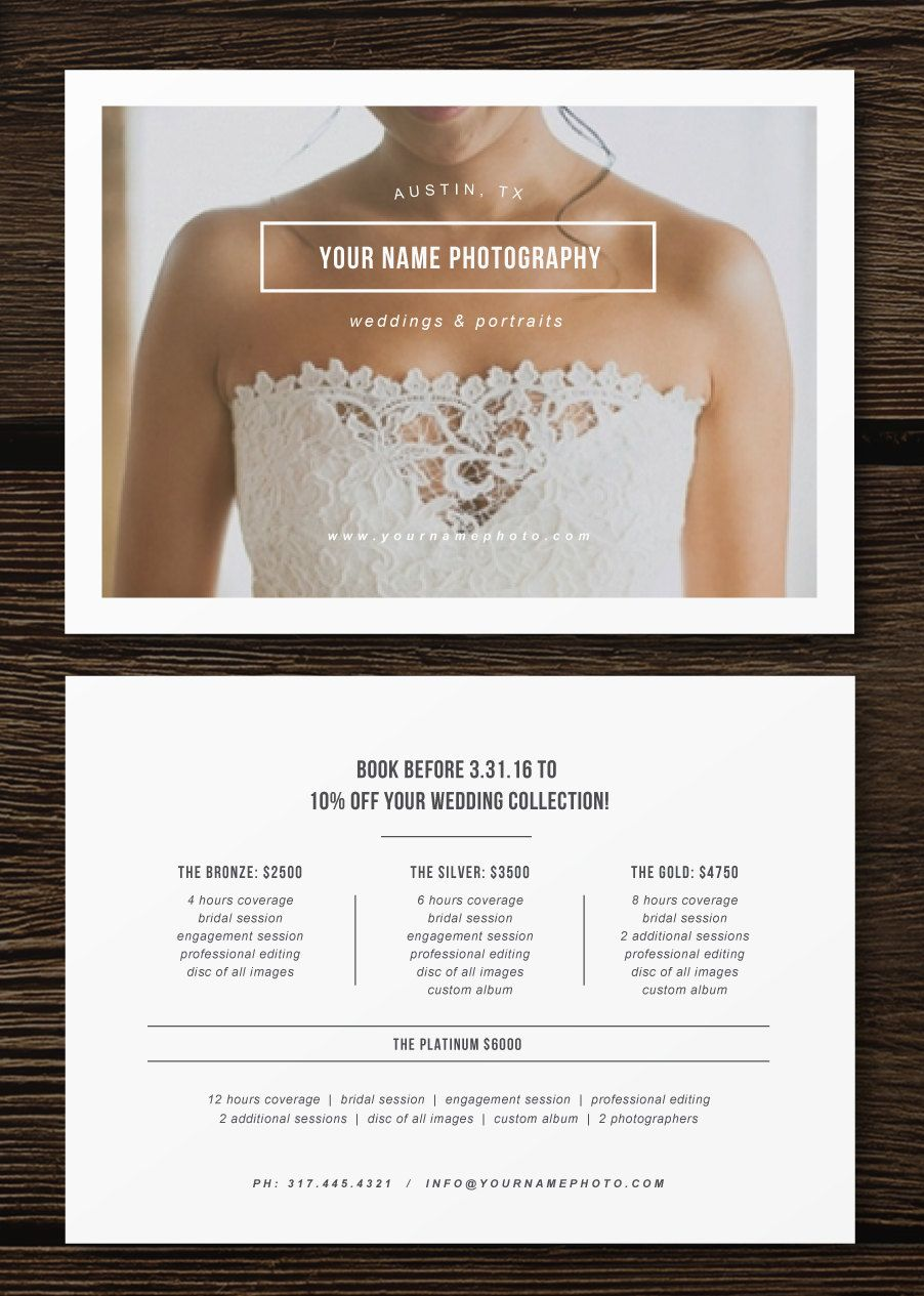 wedding photographer pricing flyer branding and marketing