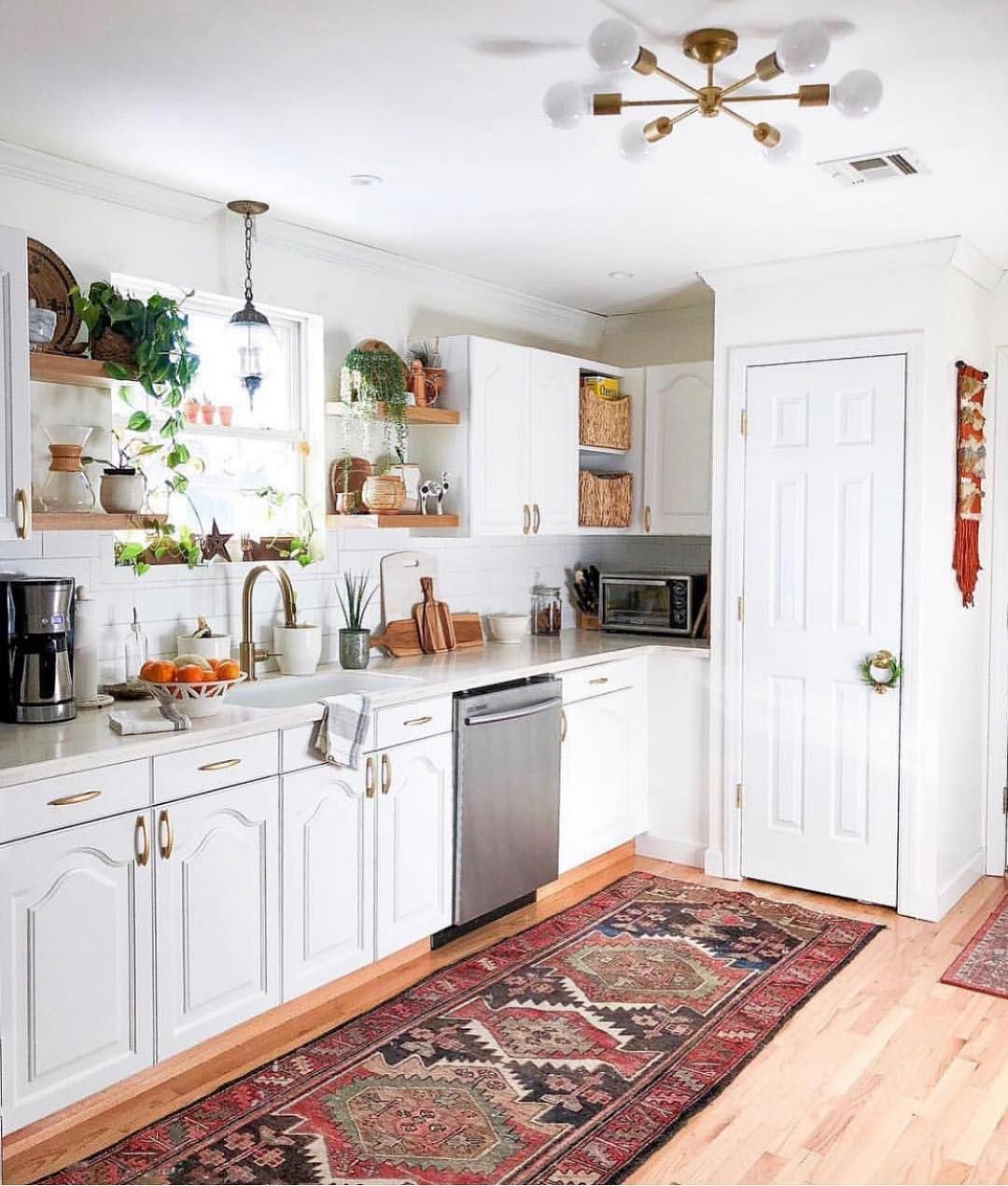 mid century boho scandinavian on instagram a stunner of a kitchen this rug looks amazing in on boho chic kitchen id=46431