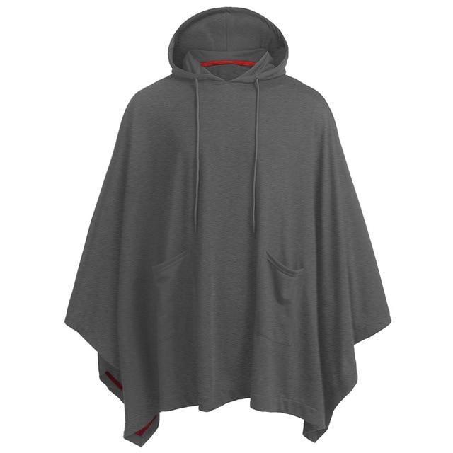 Men Polyester Hooded Hoodie Cloak Poncho Pullover Coat Sweater Hip-hop Irregular