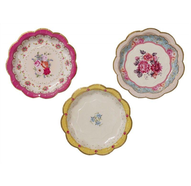 gebaksbordjes Vintage Flowers