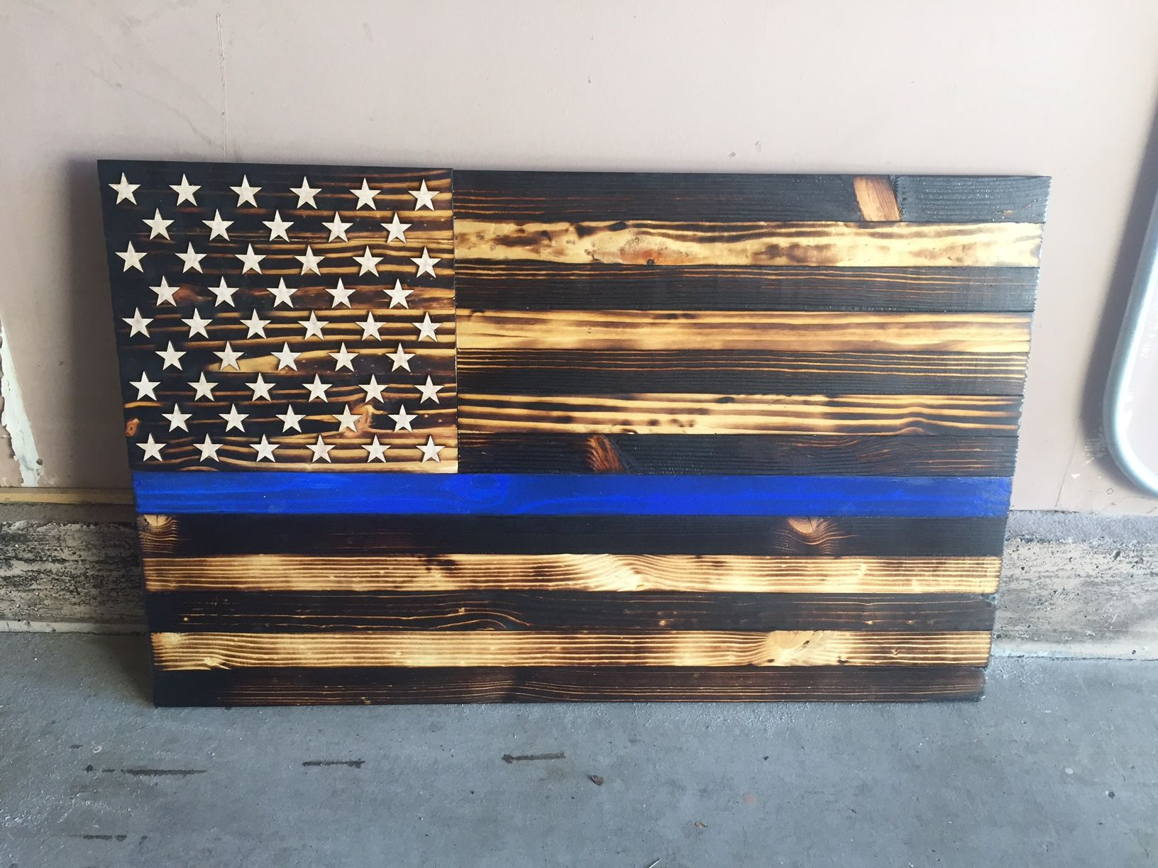 Thin blue line burnt wood flag wall art pinterest wood flag