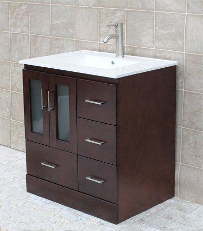 "Unique 30 Bathroom Vanity elimax's 30"" bathroom vanity solid wood cabinet left designed"