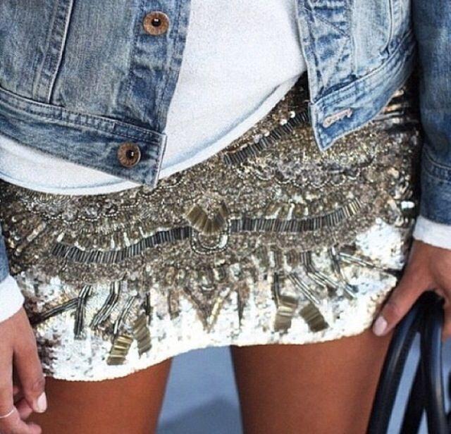Jeans sequins skirt