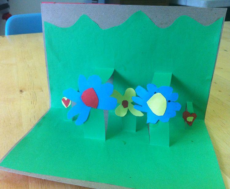 Diy pop up flower garden cards paper glue flower cards for Kids craft bed