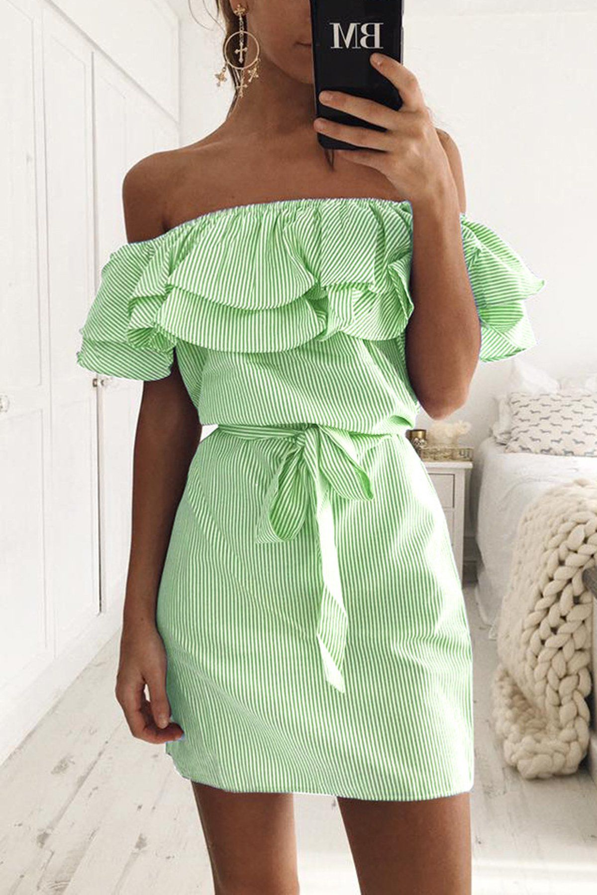 Striped off shoulder ruffles sleeves short dress ruffle sleeve