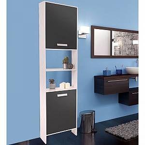 IDMARKET Meuble colonne salle de bain design en bois blanc portes grises