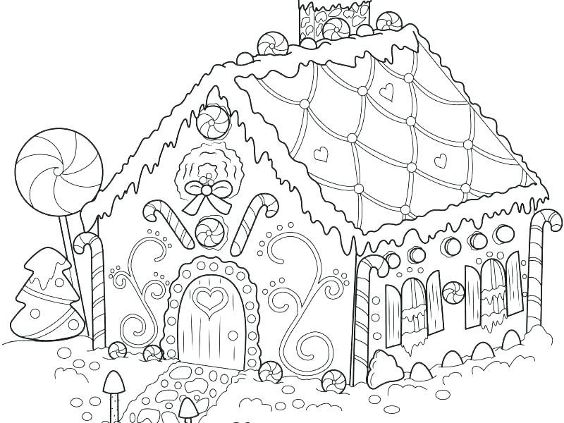 Coloring Pictures Gingerbread Houses Concept