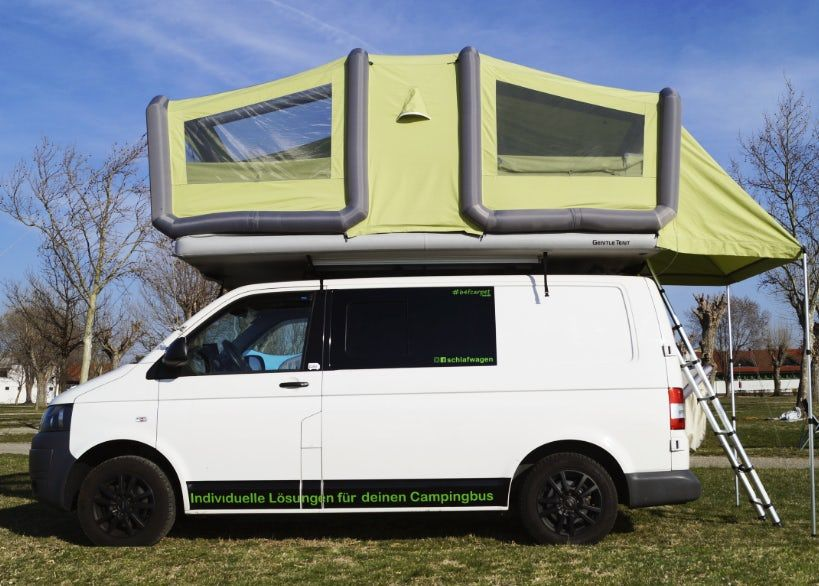 Gentletent Supersizes Its Inflatable Roof Top Tent Into A Two Room Glamping Oasis Roof Top Tent Top Tents Roof Tent