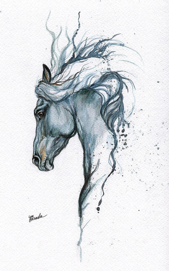 Gerahmte original Aquarell Malerei Tattoo Pferd von AngelHorses