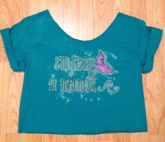 "Sparkle ""I'm really a mermaid"" Cut off Crop Tee T-Shirt Juniors sz Medium on Etsy, £10.00"