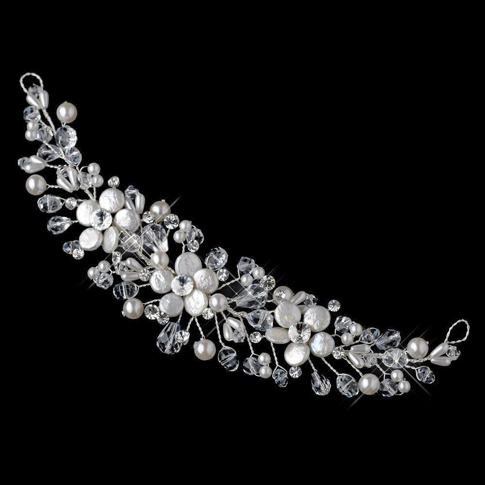 Silver Freshwater Coin Pearl, Swarovski Crystal Bead, Rhinestone & Sequin Flexible Headband Headpiece 9737