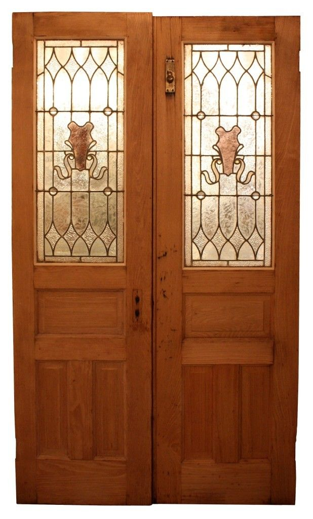 Splendid Antique Pair of Chestnut Doors with Stained Glass Early - Preservation Station Nashville TN & Splendid Antique Pair of Chestnut Doors with Stained Glass Early ...