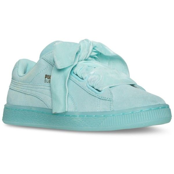 98de0a7793 Puma Women's Suede Heart Reset Casual Sneakers from Finish Line ($48) ❤  liked on Polyvore featuring shoes, sneakers, aruba blue, suede leather shoes,  ...