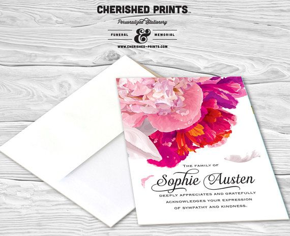 Beautiful Soft Peonies Personalized Thank You Card Sympathy Thank
