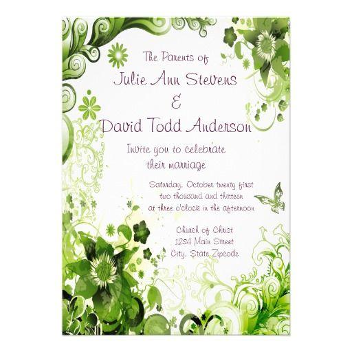 Spring Emerald Green Floral Wedding Invitation