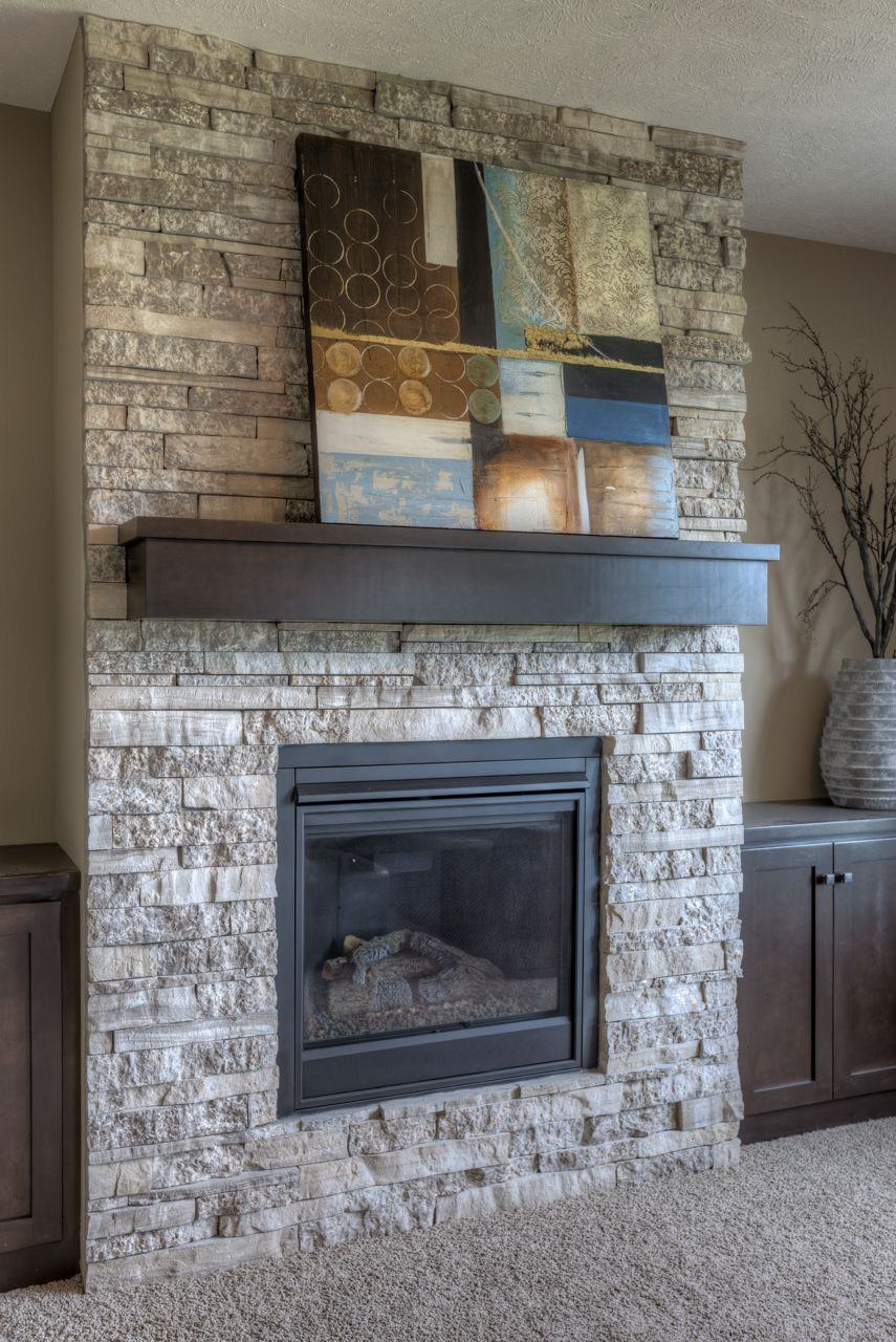 Stone Fireplace With Dark Wood Mantle Fireplace Remodel