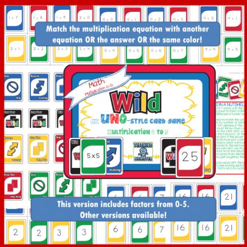 Free Uno Multiplication Game Math Printables Multiplication Games Educational Math Games