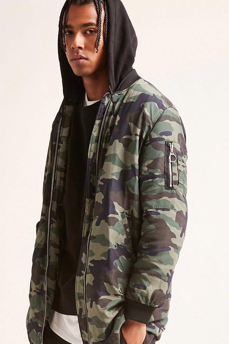 Product Name Longline Camo Hooded Bomber Jacket Category Mens Top Picks Price 49 9 Muzhskaya Odezhda Odezhda [ 1125 x 750 Pixel ]