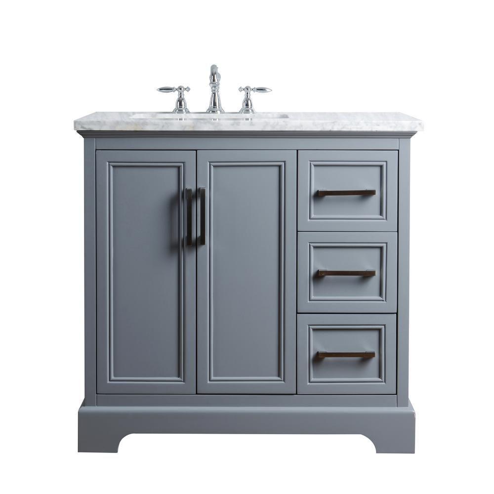 Stufurhome 36 In Ariane Single Sink Vanity In Gray With Marble Vanity Top In Carrara With White Basin Hd 1525g 36 Cr The Home Depot Single Sink Vanity Single Sink Bathroom Vanity 36