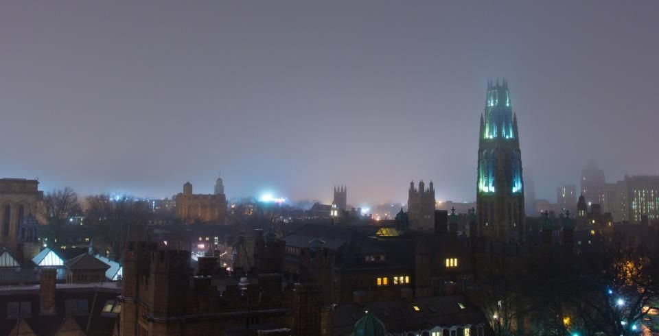 Yale on a foggy night... a good argument for collegiate gothic.