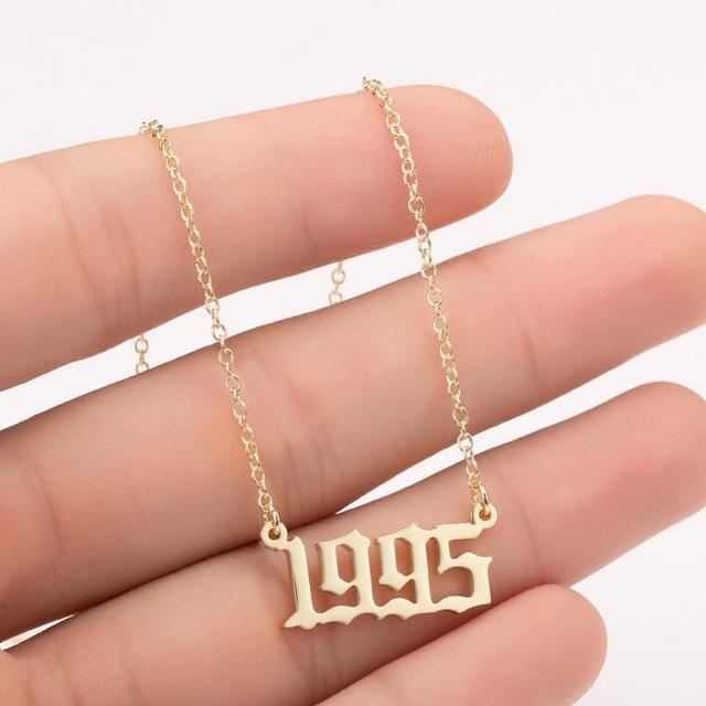 Women Personalized Necklace Special Date Year Number Necklace Girl1994 1995 1996 1997 1998 1999 From 19 Number Necklace Necklace Online Silver Flower Earrings
