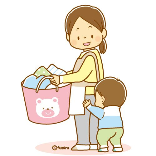 洗濯物を運んでいるおかあさんとこどものイラスト ソフト Rotinas