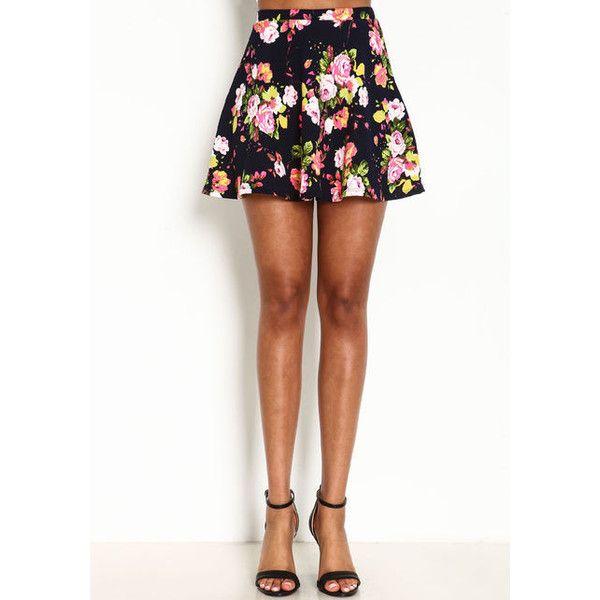 Floral Garden Skater Skirt Love Culture (20 AUD) ❤ liked on Polyvore featuring skirts, skater skirt, high waisted chiffon skirt, floral chiffon skirt, floral skater skirt and circle skirt