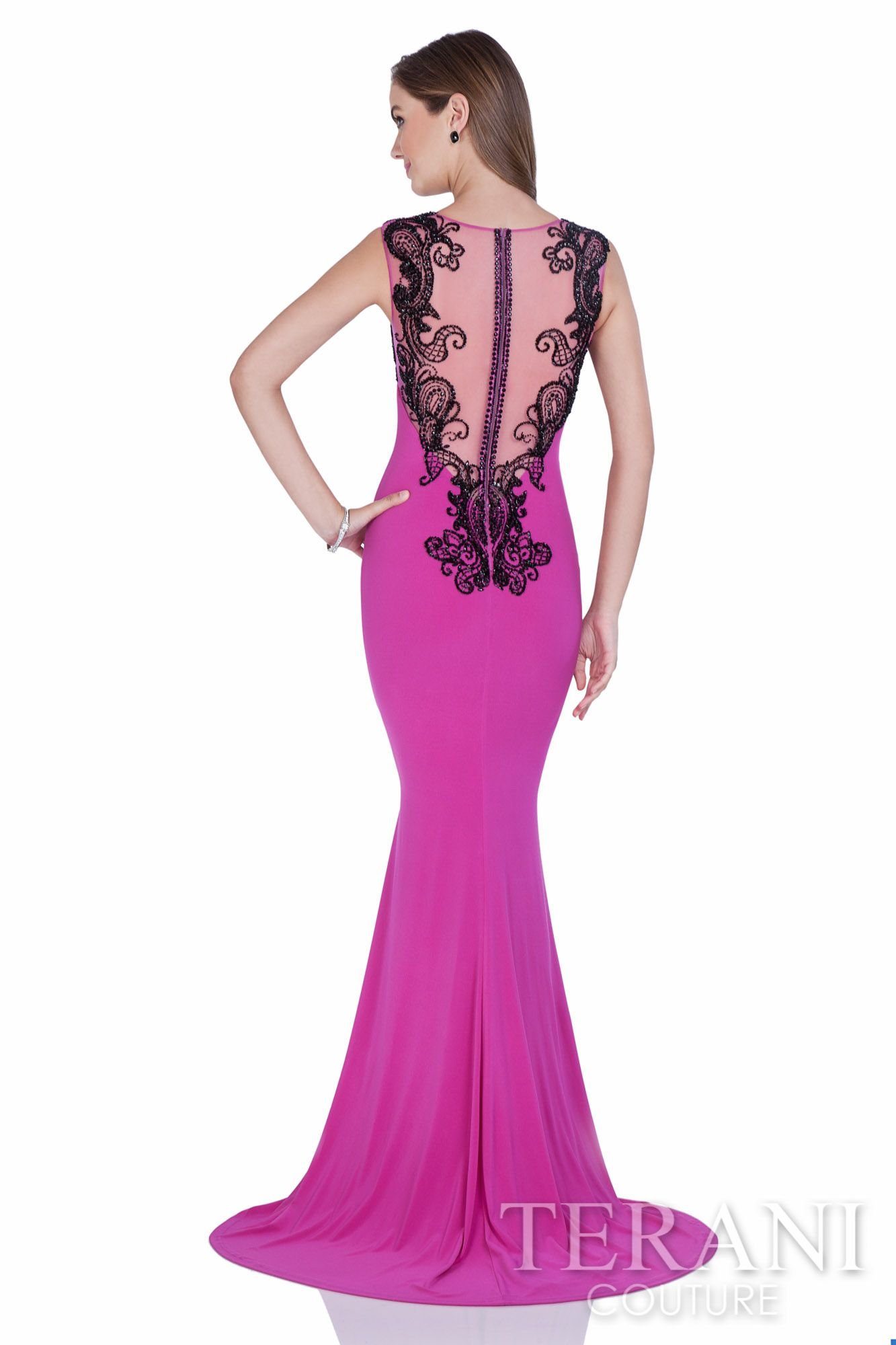 Fitted jersey sheath gown with mesh back and black sequin ...