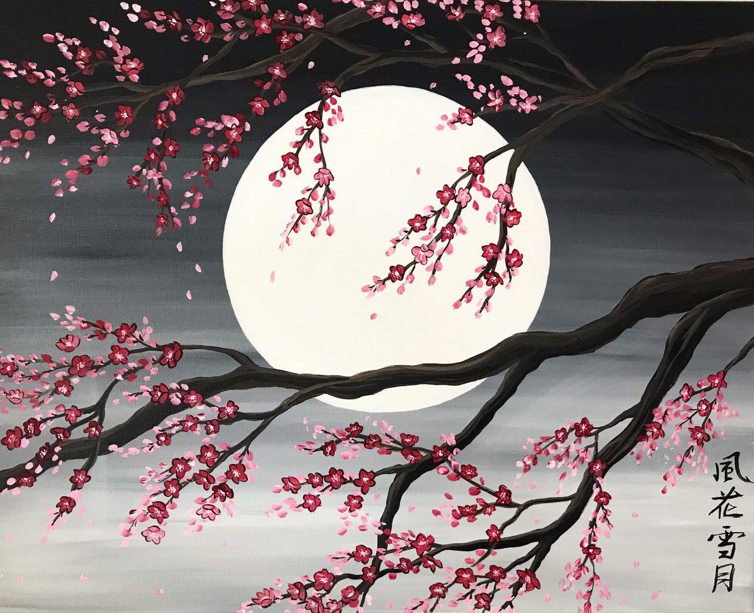 Excited To Share This Item From My Etsy Shop Sakura Painting Cherry Blossom Tree Sakura Painting Cherry Blossom Painting Acrylic Cherry Blossom Painting