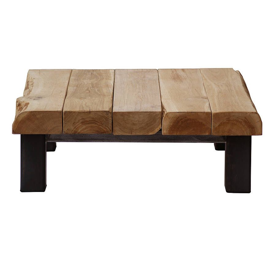 Oak And Iron Large Square Coffee Table