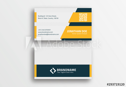 Modern Creative Blue And Yellow Business Card Design Template Buy This Stock Vector And Explor Yellow Business Card Business Card Template Design Card Design