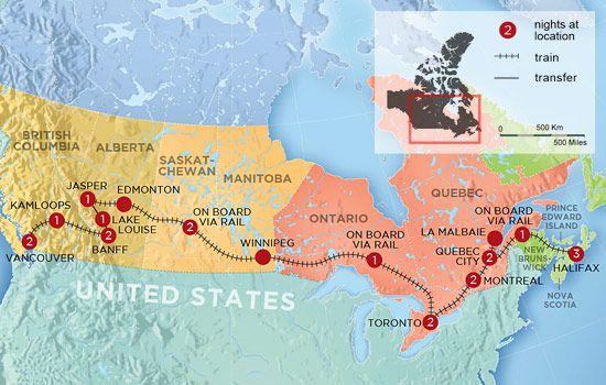 Trans Canada Train Map Canada Coast to Coast By Train | Canada coast, Train vacations