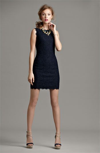 Adrianna Papell Boatneck Lace Sheath Dress Fashion