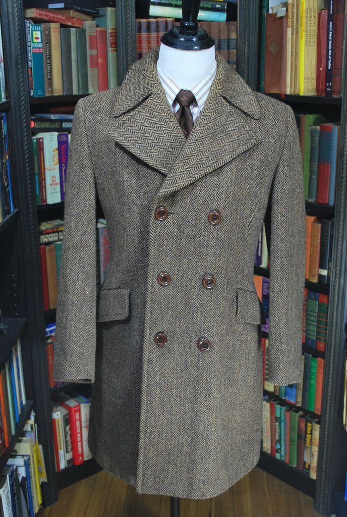 "Vintage Harris Tweed Herringbone Topcoat 40""- 41"" chest. Offered for $299 on Bronandwilliamsclothiers.com"