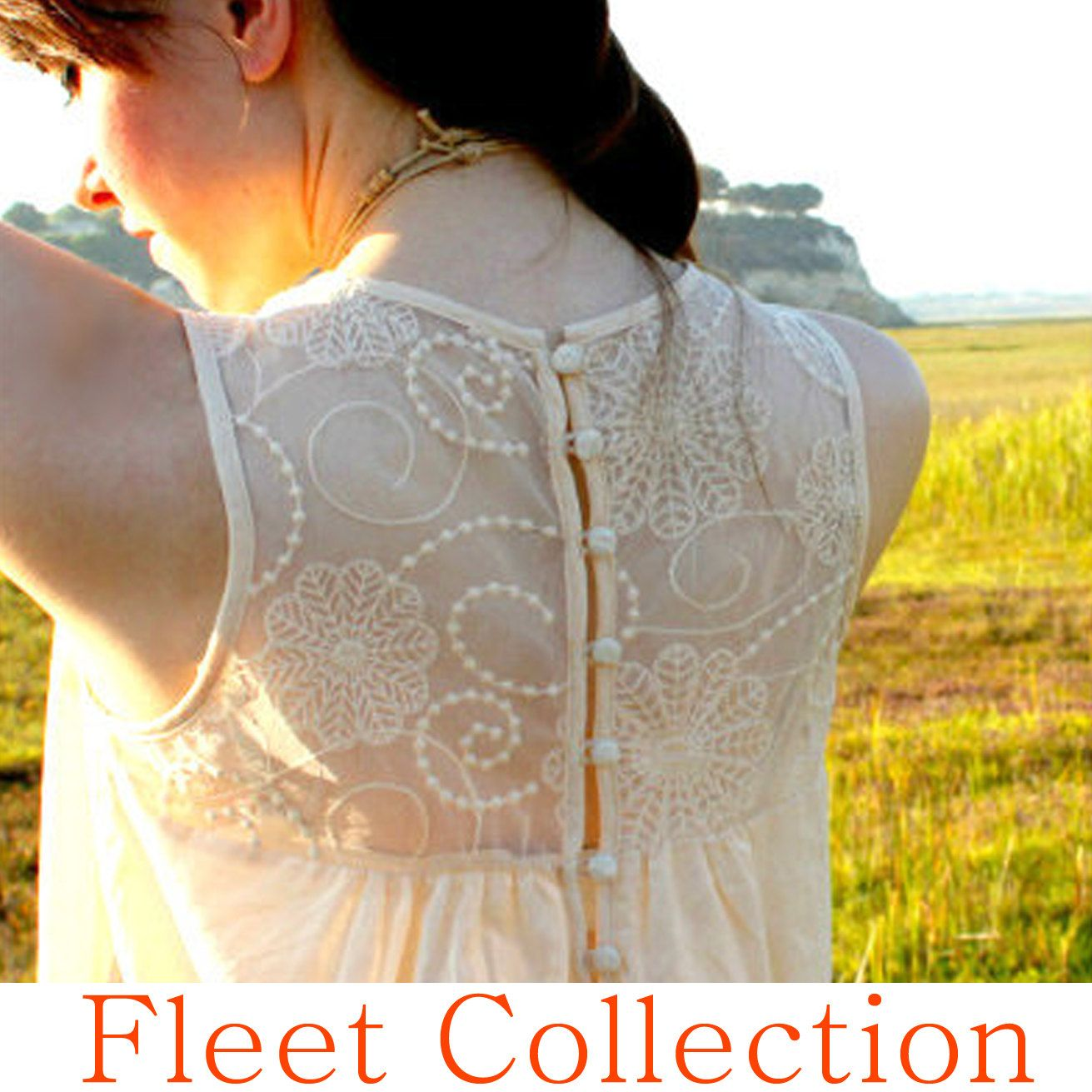 ANTIQUE LACE Sleeveless Tank Top Blouse with Sheer Lace Embroidery in Ivory. $34.00, via Etsy.