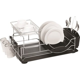Home Basics Chrome Plated Steel 2 Tier Deluxe Dish Drainer White