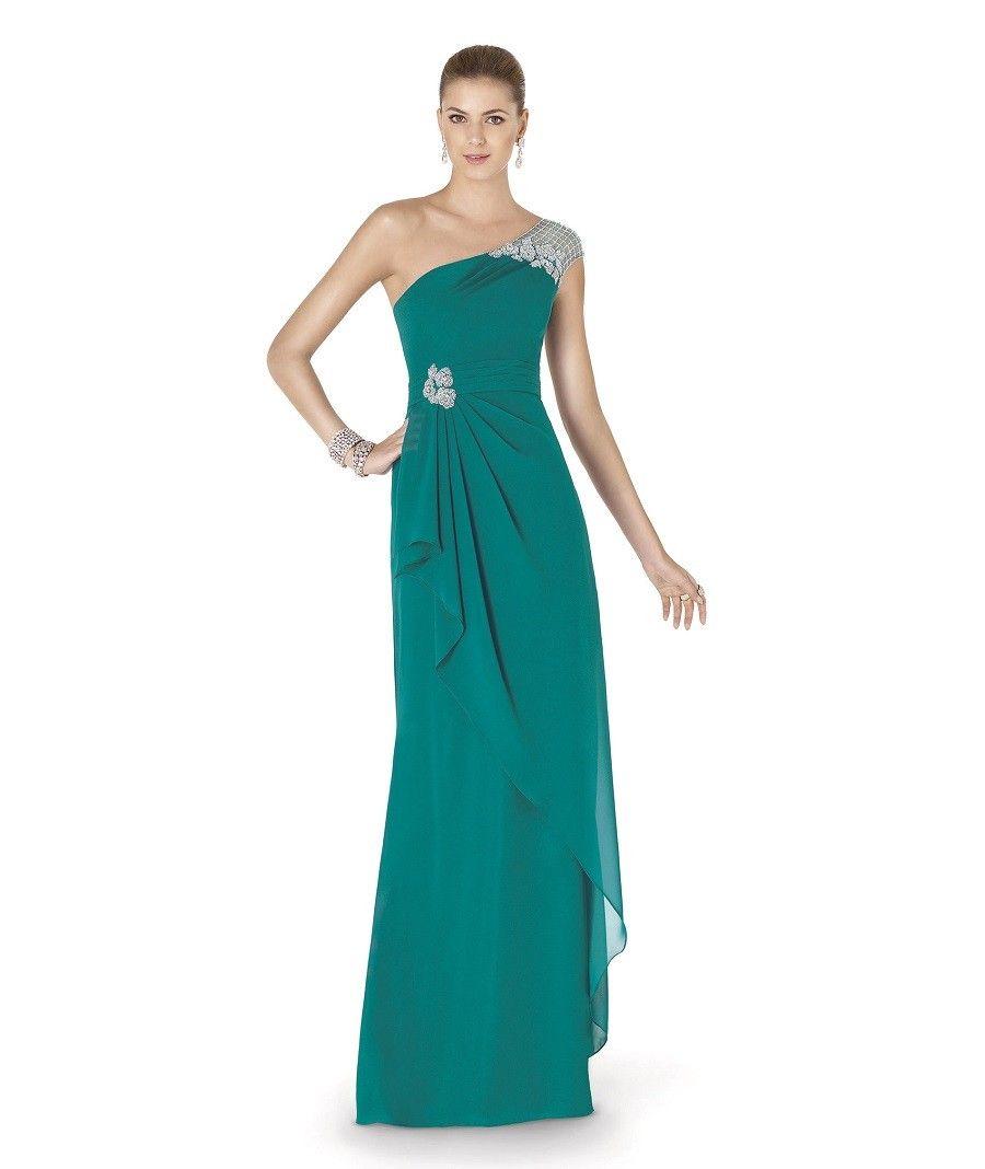 Festliches One Shoulder Abendkleid in Grün | Abendkleid ...