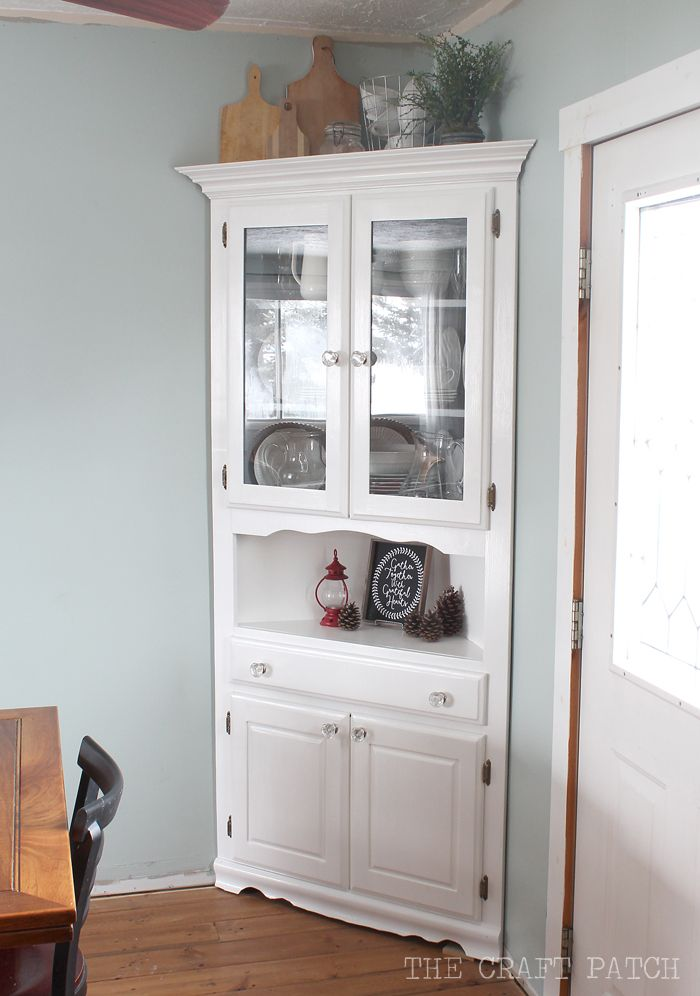 the craft patch corner hutch furniture makeover - Dining Room Corner Hutch