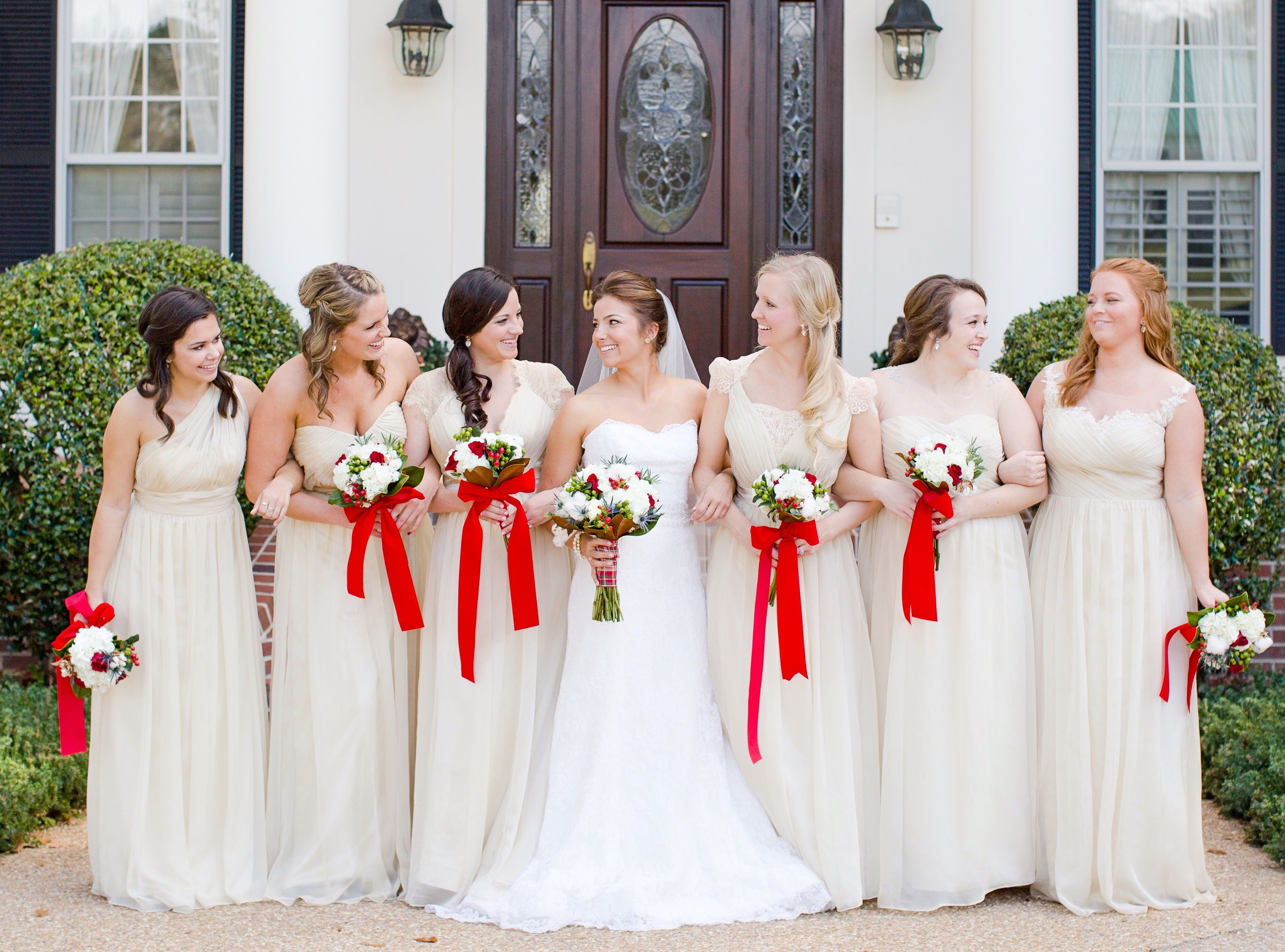 Christmas themed southern december wedding with mismatched christmas themed southern december wedding with mismatched bridesmaid dresses dover farm tallahassee fl ombrellifo Gallery