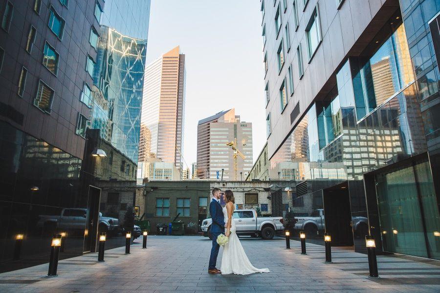 Le Germain Calgary Rooftop Wedding bride groom