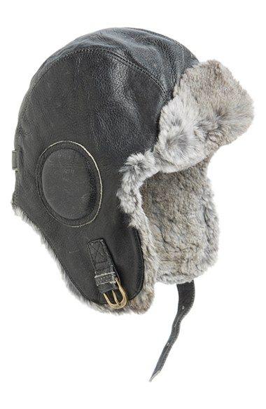 8de907e6af1 Nathaniel Cole Genuine Rabbit Fur Lined Leather Aviator Hat