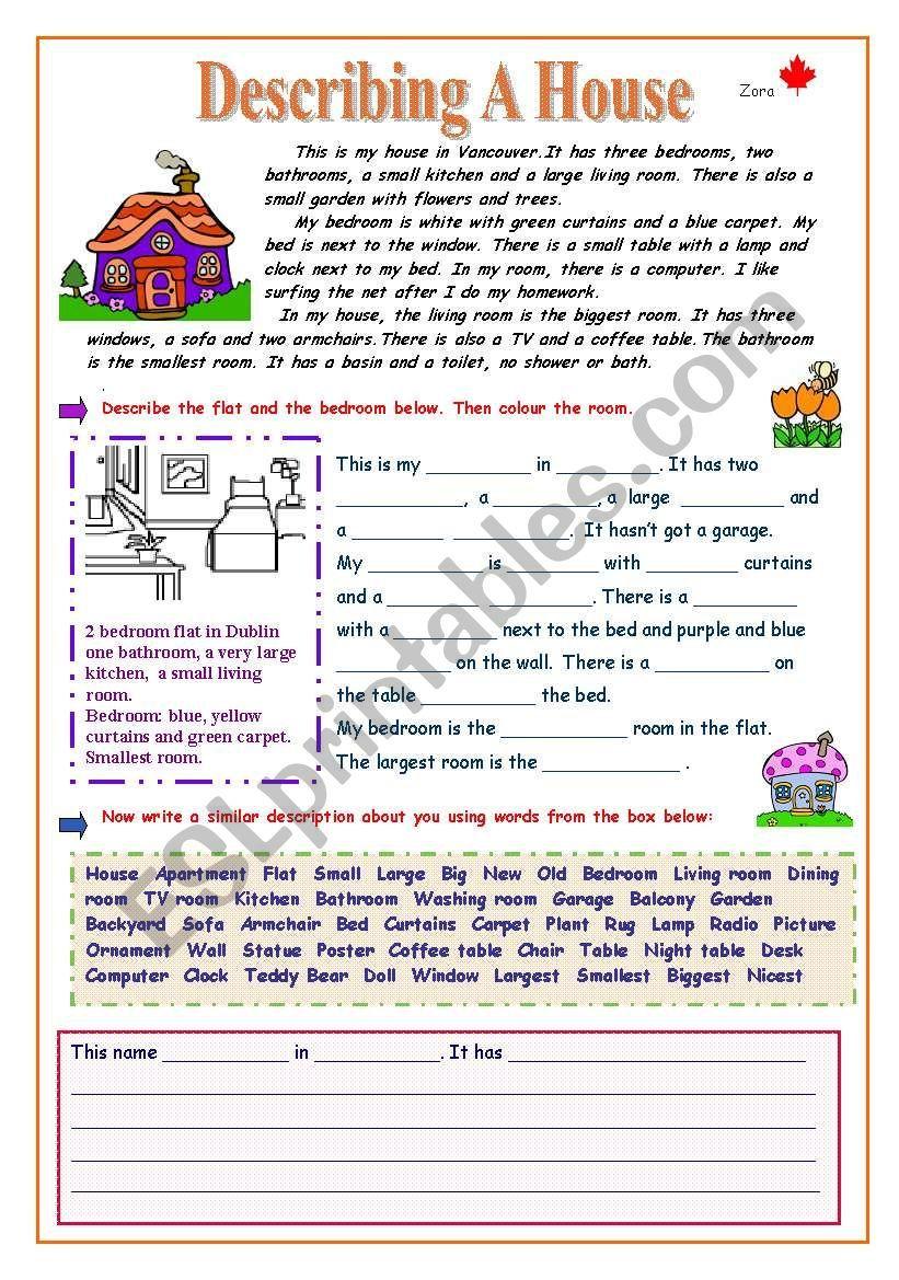 Describing A House Worksheet Reading Comprehension Texts Reading Comprehension Kindergarten Learning English For Kids [ 1169 x 821 Pixel ]