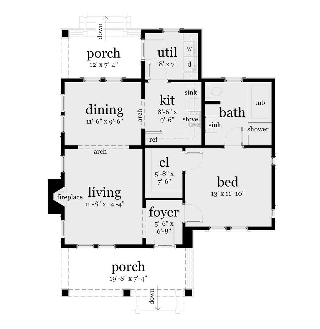 bungalow style house plan 1 beds 1 baths 841 sq ft plan 64 123
