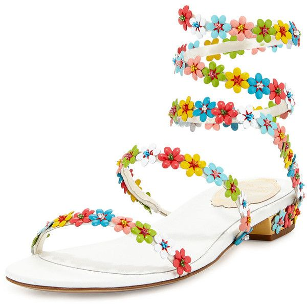 Rene Caovilla Floral-Embellished Coil Sandal ($687) ❤ liked on Polyvore featuring shoes, sandals, multi white, floral sandals, leather ankle strap sandals, white flat sandals, white shoes and ankle tie sandals
