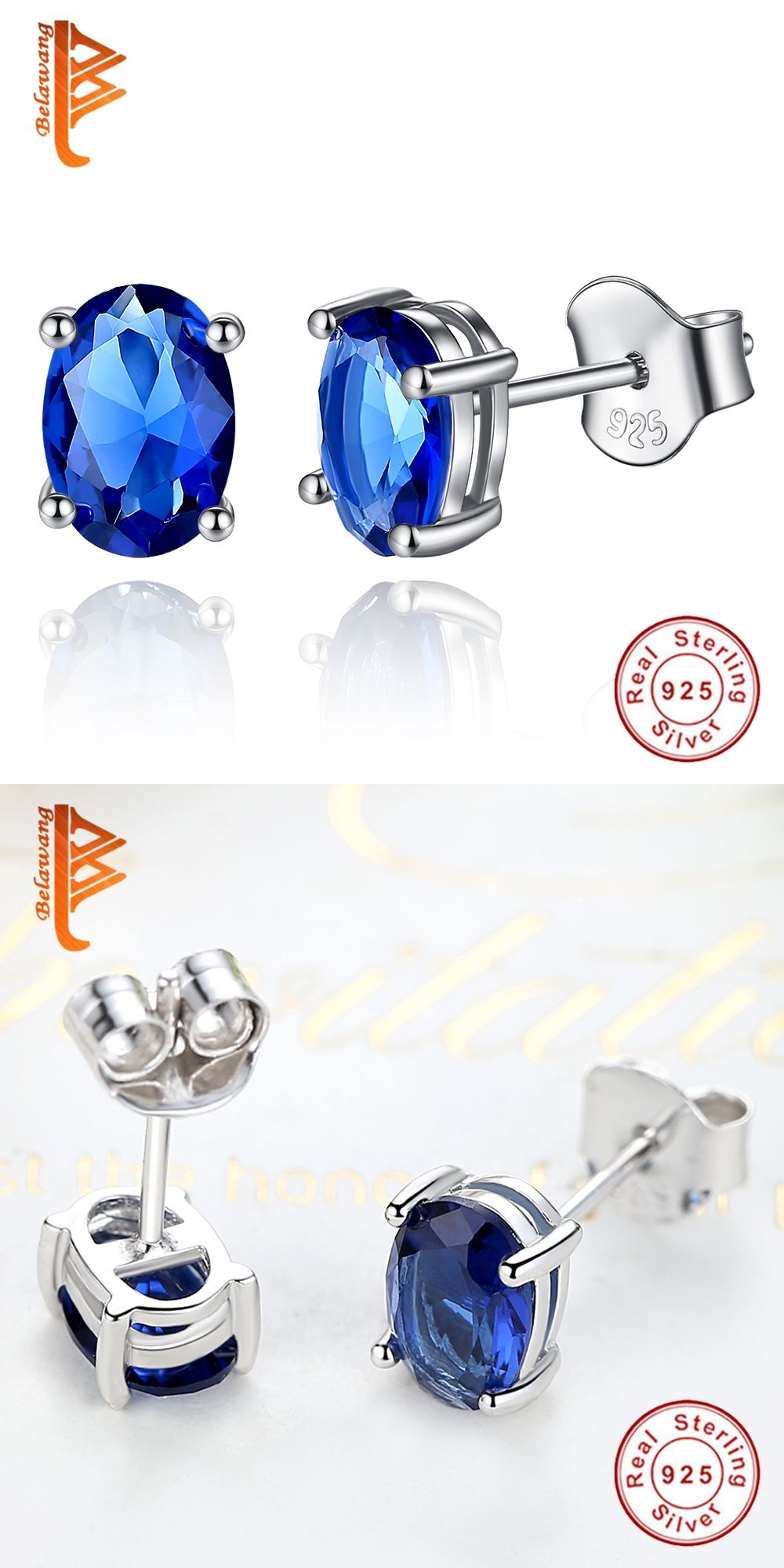 crystal blue flower silver earrings real sapphire sterling stud children pin rings s