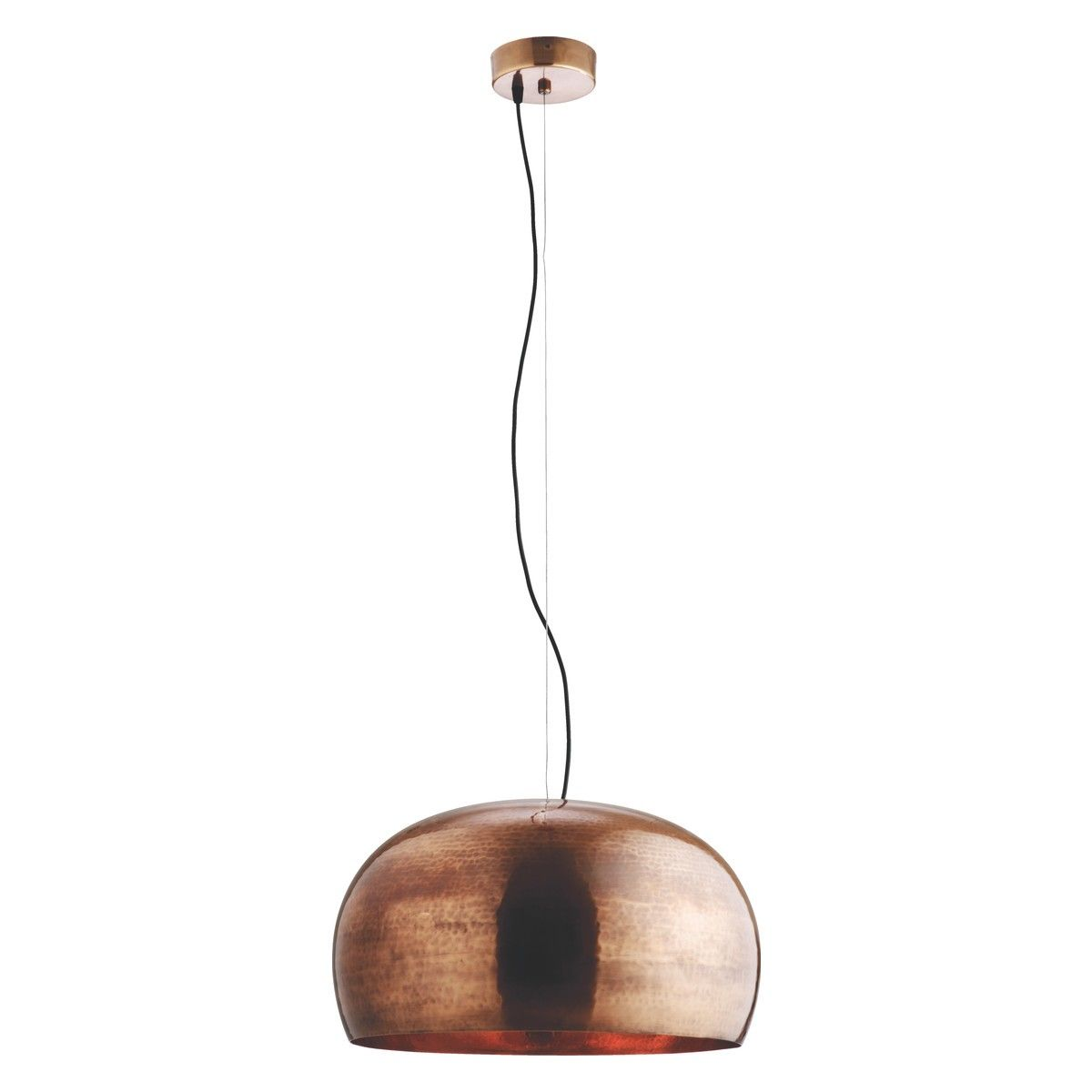 Large cut out dome metal lighting pendant shades cream - Marteau Large Copper Coated Brass Ceiling Light
