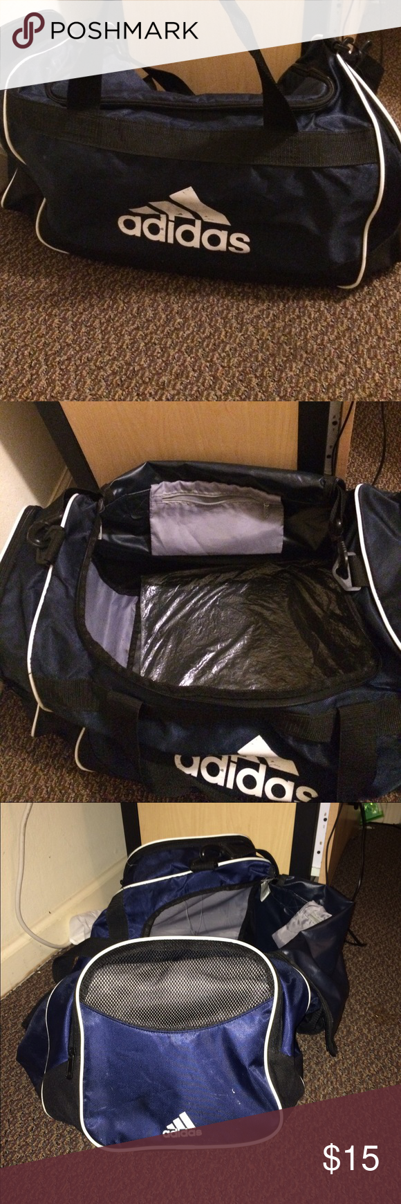 Adidas duffle bag Well loved duffle bag. It is in good condition with the inside free of stains, rips and also smell free! All zippers work and no tears on the handles and the plastic protective liner is still inside the bottom of the bag Adidas Bags Travel Bags