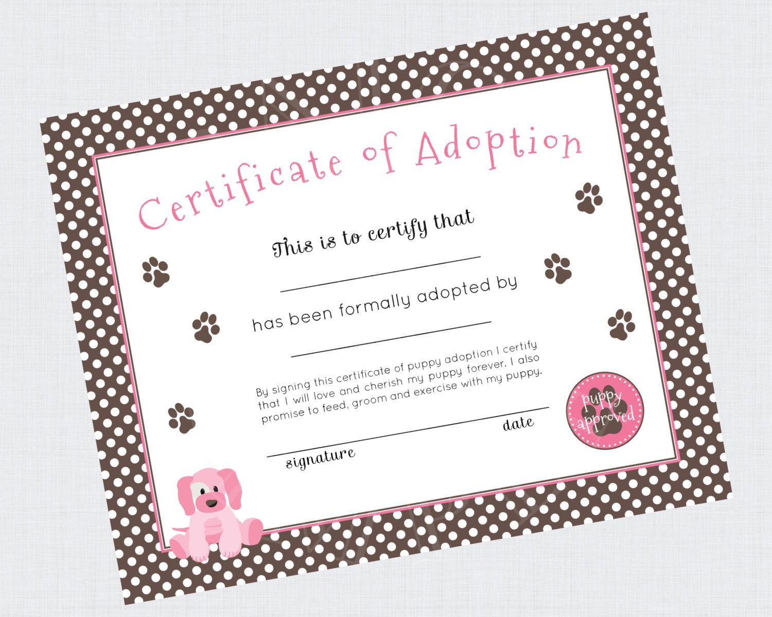 Printable adoption certificate from the puppy paw ty collection by printable adoption certificate from the puppy paw ty collection by paige simple via etsy xflitez Gallery