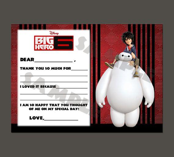 Printable Disney Big Hero 6 Kids Fill In Thank You by PeekaOwl